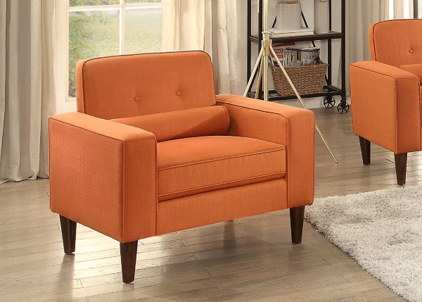 modern button tufted orange accent chair