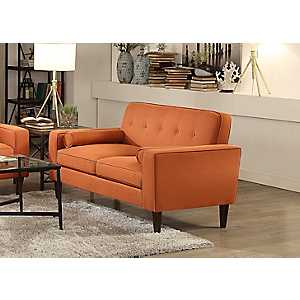 Orange Mid-Century Modern Loveseat