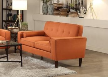 Orange Mid-Century Modern Loveseat
