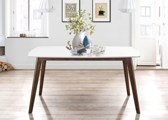 Long White Top Mid-Century Modern Dining Table