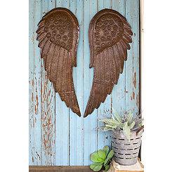 Metal Hand Hammered Angel Wings, Set of 2