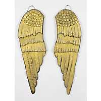 Gold Painted Wood Angel Wings, Set of 2