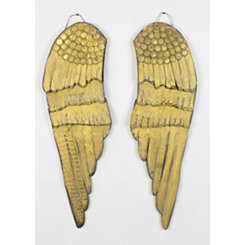 Gold Painted Wood Angel Wings, Set of 2