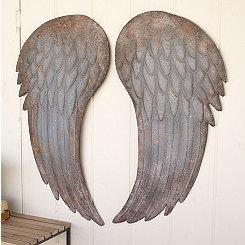 Painted Metal Angel Wings, Set of 2