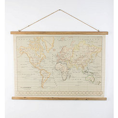 World Map Printed on Canvas with Wooden Details