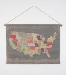 Vintage American Map Tapestry