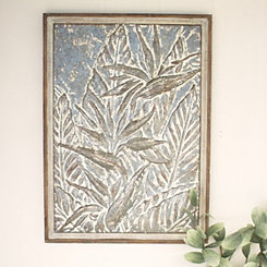 Pressed Metal Birds of Paradise Framed Wall Plaque