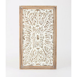 Wood Framed Pressed Metal Wall Plaque