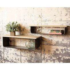 Metal and Wood Natural 2-pc. Ledge Shelf Set