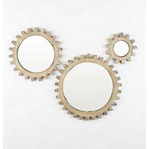 Natural Wooden Gears Mirrors, Set of 3