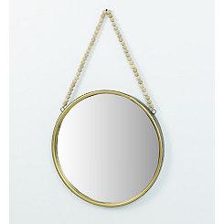 Round Mirror with Wooden Bead Hanger