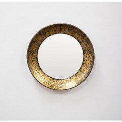 Round Gold Antiqued Metal Mirror