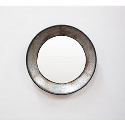 Round Raw Natural Metal Wall Mirror