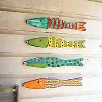 Recycled Wood Folk Art Fish, Set of 4