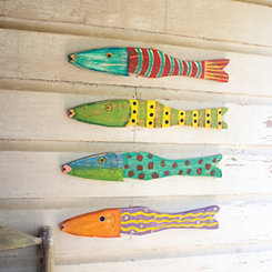 Recycled Wood Folk Art Fish, Set of 4