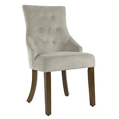 Dove Gray Tufted Velvet Dining Chair