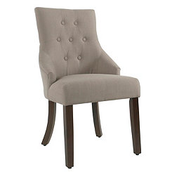Soft Brown Tufted Linen Dining Chair
