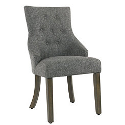 Slate Gray Tufted Tweed Dining Chair