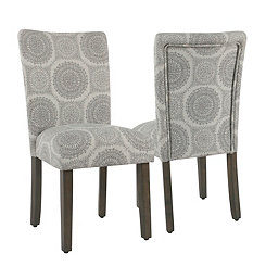 Gray Medallion Parsons Chairs, Set of 2