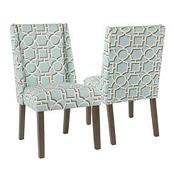 Aqua Lattice Dining Chairs, Set of 2