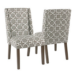 Gray Lattice Dining Chairs, Set of 2