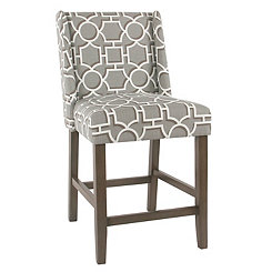 Gray Lattice Counter Stool