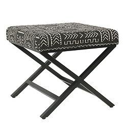 Onyx Global Upholstered Metal Ottoman
