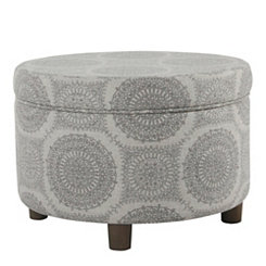 Round Gray Medallion Storage Ottoman