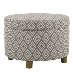 Round River Rock Brown Storage Ottoman