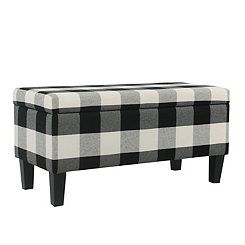 Black Buffalo Check Storage Bench