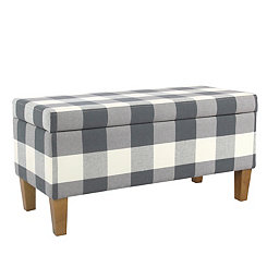 Blue Buffalo Check Storage Bench