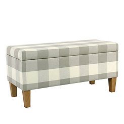 Gray Buffalo Check Storage Bench