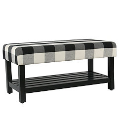 Black Buffalo Check Bench with Shelf