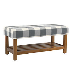 Blue Buffalo Check Bench with Shelf