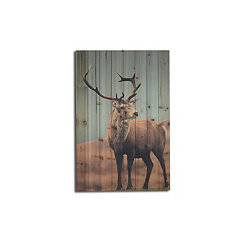Deer in Field Wood Art Print