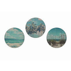 Round Beach Wood Art Prints, Set of 3