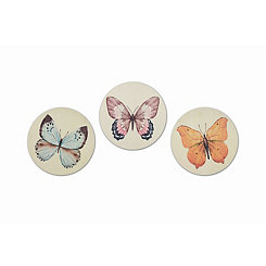 Round Butterfly Wood Art Prints, Set of 3