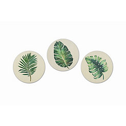 Round Leaf Wood Art Prints, Set of 3
