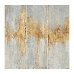 Fluent in Gold Canvas Art Prints, Set of 3