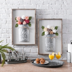 Galvanized Floral Jar Wall Plaques