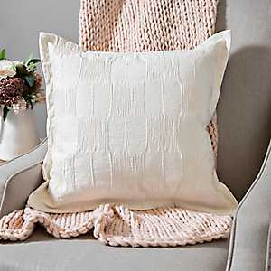 Ivory Jacquard Flanged Edge Pillow