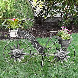 Galvanized Metal Welcome Bike Planter