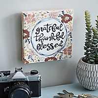 Grateful Thankful Blessed Canvas Art Print