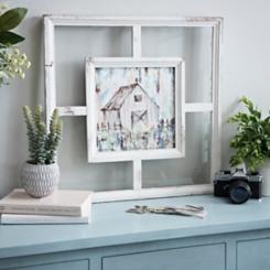 Barn on Windowpane Framed Art Print