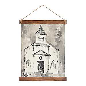 White Church Hanging Canvas Art Print