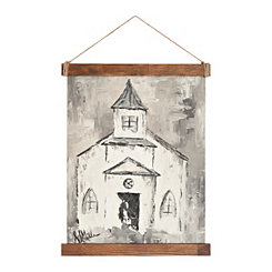 White Church Hanging Canvas Art Print