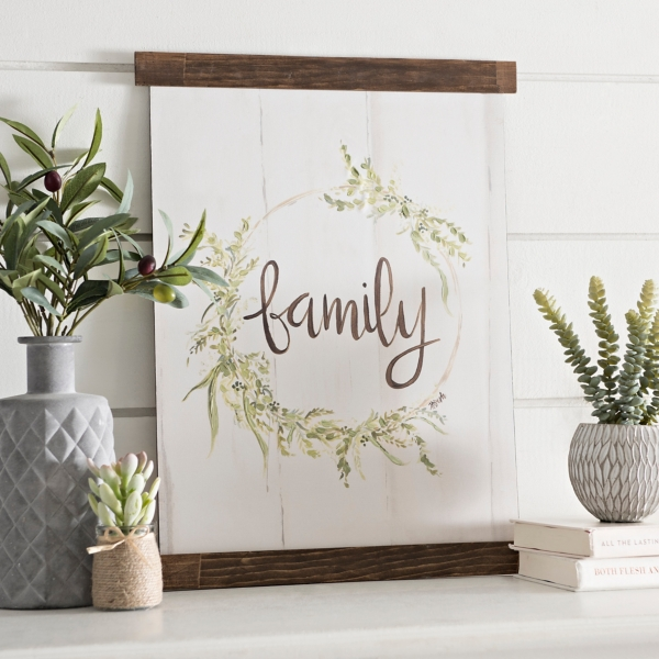 Charmant Family Wreath Hanging Canvas Art Print