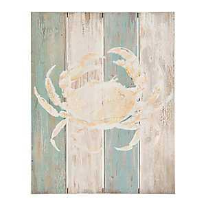 Coastal Crab Wood Plank Wall Plaque