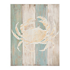 Coastal Crab Wood Plank Wall Plaque
