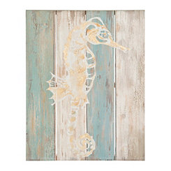 Coastal Seahorse Wood Plank Wall Plaque